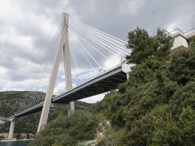 Towering Franjo Tudjman bridge Dubrovnik Croatia