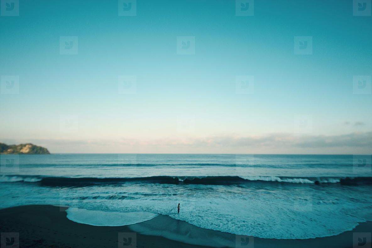 Tranquil beach and blue ocean seascape  Sayulita  Nayarit  Mexico