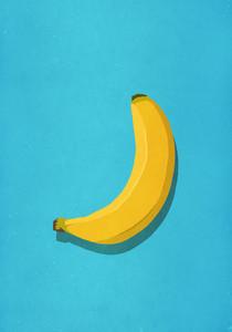 Unpeeled banana on blue background