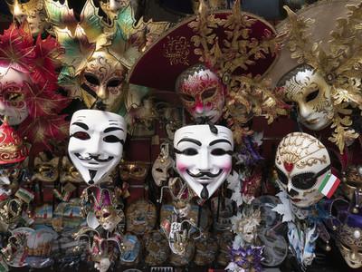 Venetian masks on display  Venice  Italy