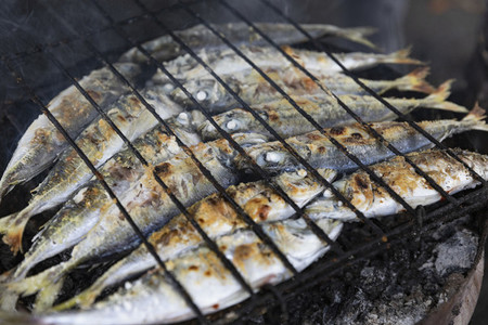 Whole sardines cooking on barbecue grill 02