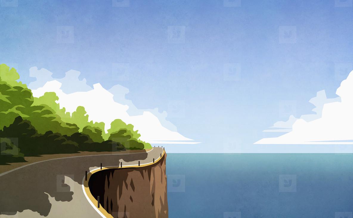 Winding cliff road along ocean