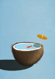 Woman swimming in tropical coconut pool