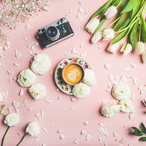 Spring layout with coffee camera and white  square crop