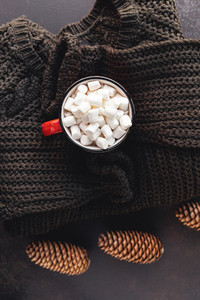 Hot chocolate in a red mug with marshmallow surrounded Christmas decoration on a woolen sweater