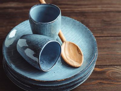 Handmade blue set of ceramic tableware Espresso cups and plates