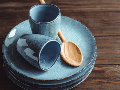 Handmade blue set of ceramic tableware  Espresso cups and plates