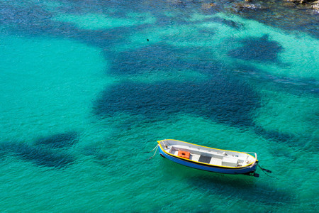 View of boat floatinng in sea