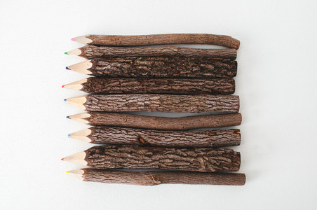 Wooden Colored Pencils Flat Lay