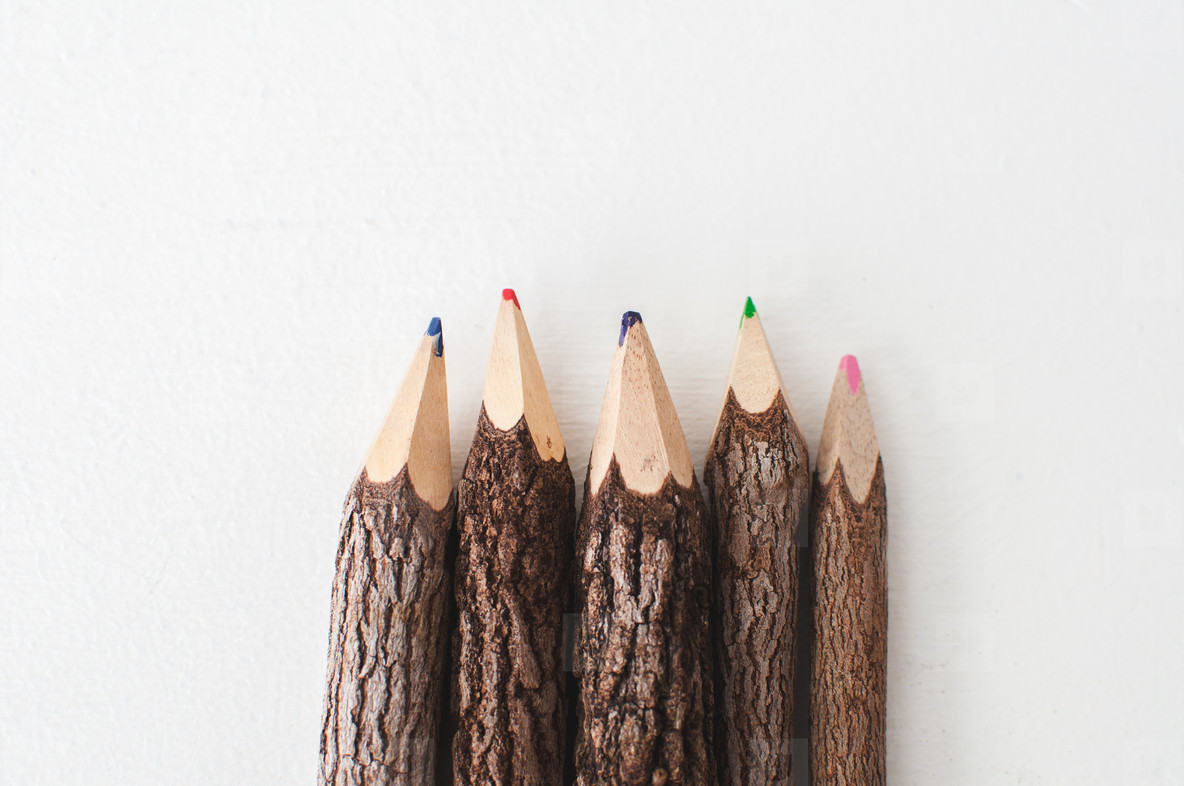 Wooden Colored Pencils Centered