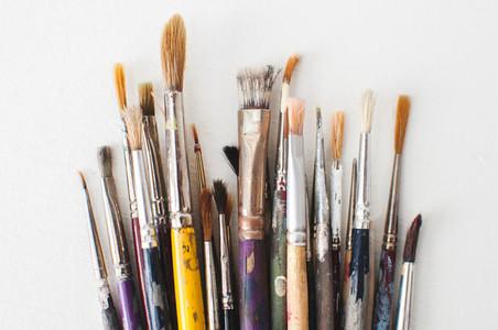 Close Up of Used Paintbrushes