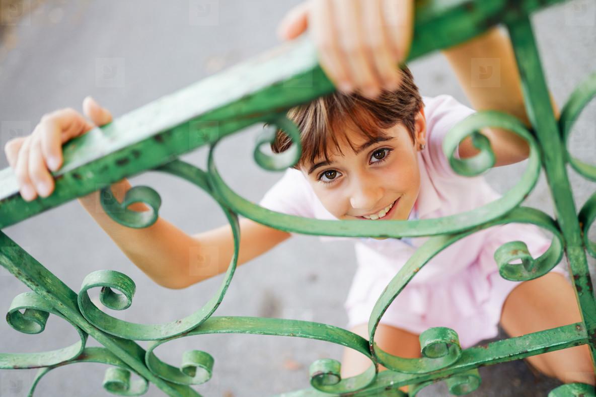 Little girl  eight years old  having fun in an urban park
