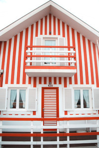 Striped colourful beach houses of Costa Nova  Portugal