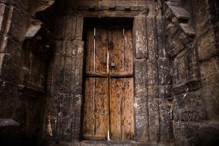 Old brick wall and door