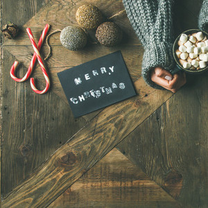 Christmas or New Year holiday background copy space square crop