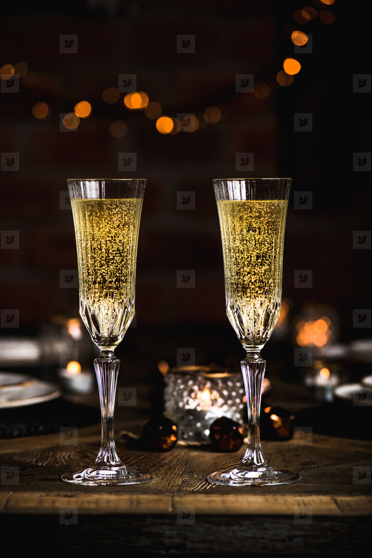 Christmas or New year festive set with glasses of champagne