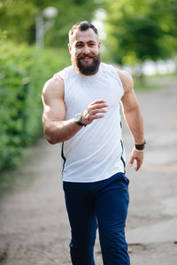 bearded man runs