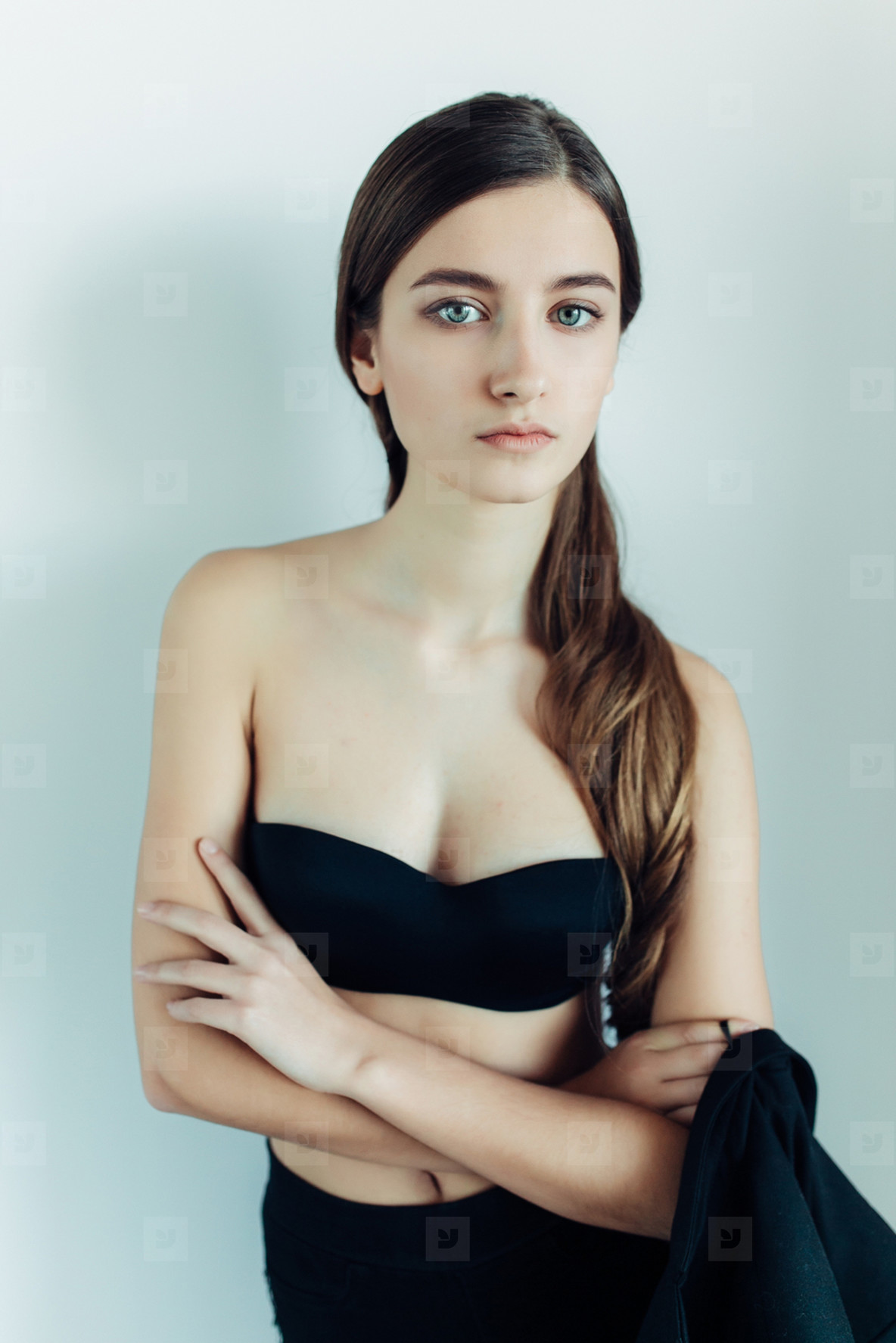 young girl in a black dress