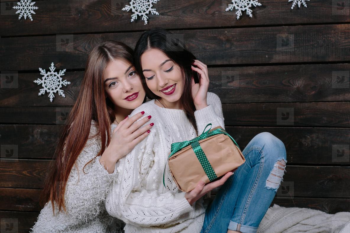 Two beautiful girls at Christmas