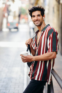 Young male traveler enjoying the streets of Granada  Spain