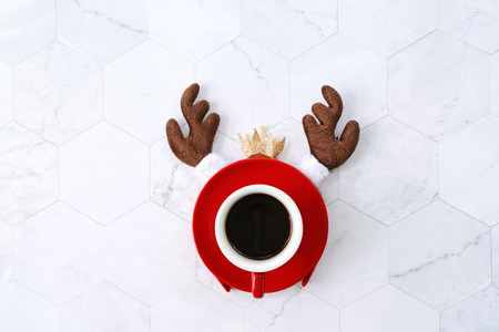 Flat lay of black coffee red cup