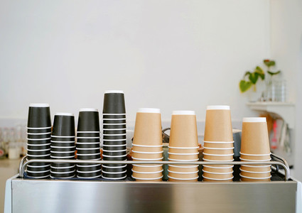 The stack of take away coffee cups