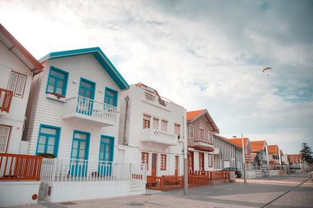 Striped colourful beach houses of Costa Nova  Portugal