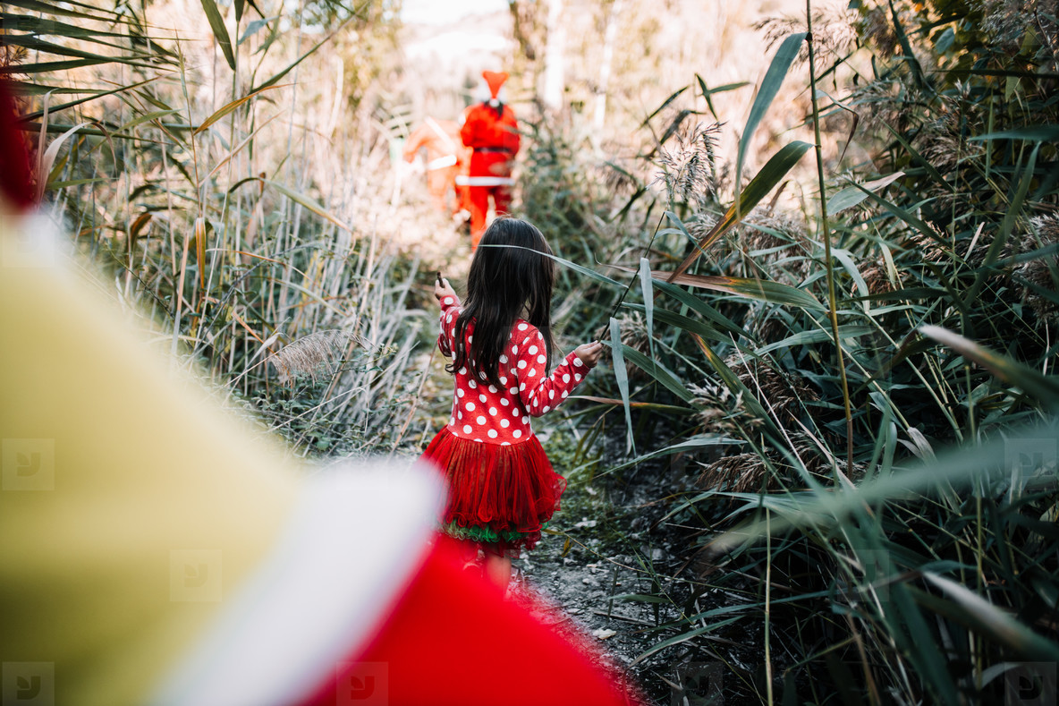 Girl disguised to christmas in the forest with their family