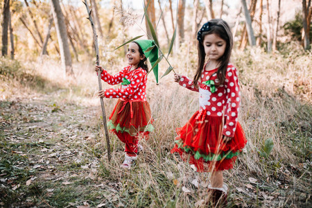 Girls disguised to christmas in the forest with their family