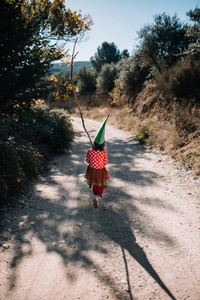 Girl disguised to christmas walking for a path close to forest
