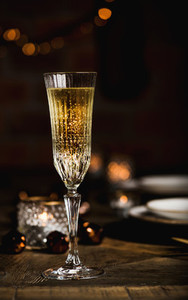 Christmas or New year festive set with champagne  copy space