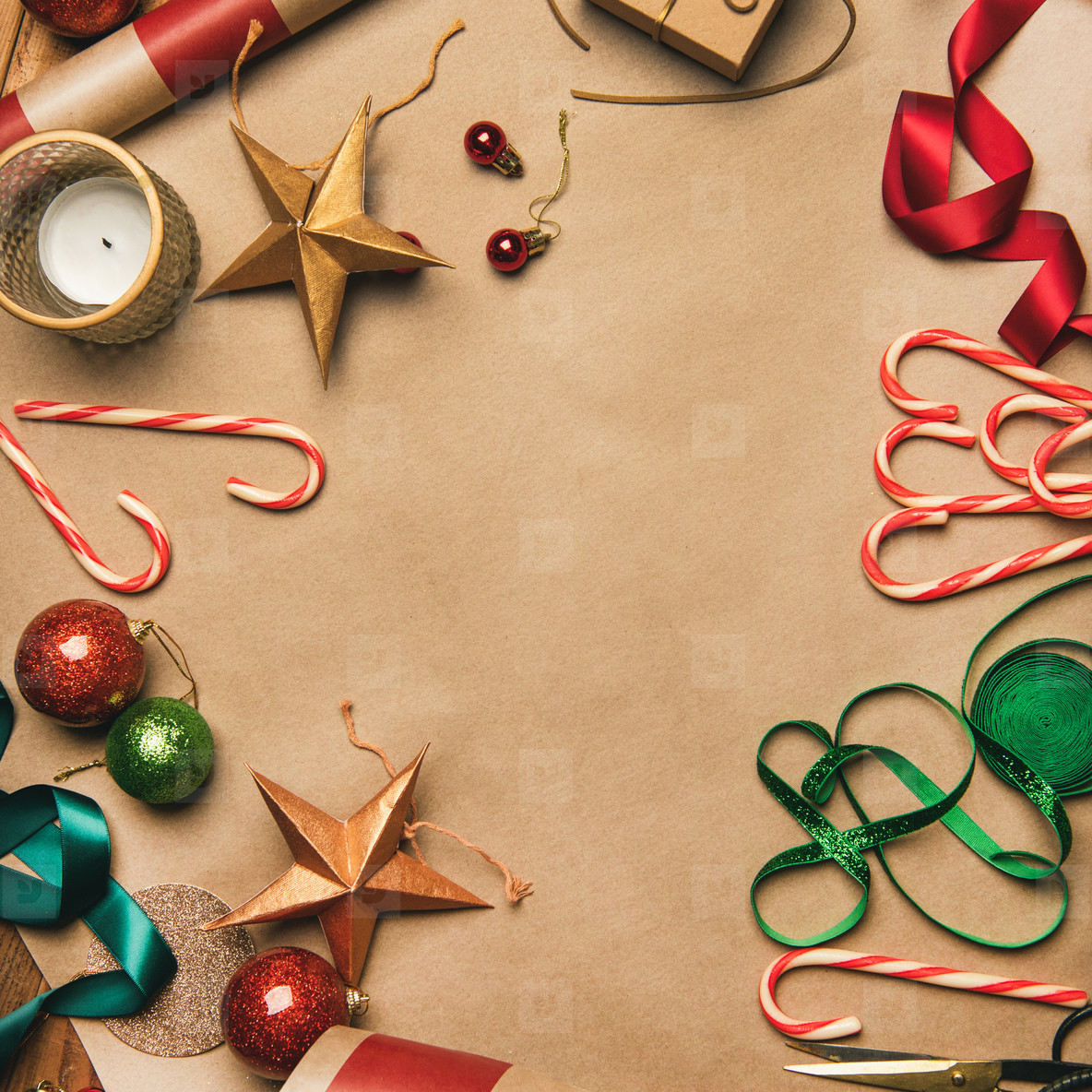 Paper Christmas Decorations.Photos Christmas Decorations And Balls Over Wrapping Paper Square Crop Youworkforthem