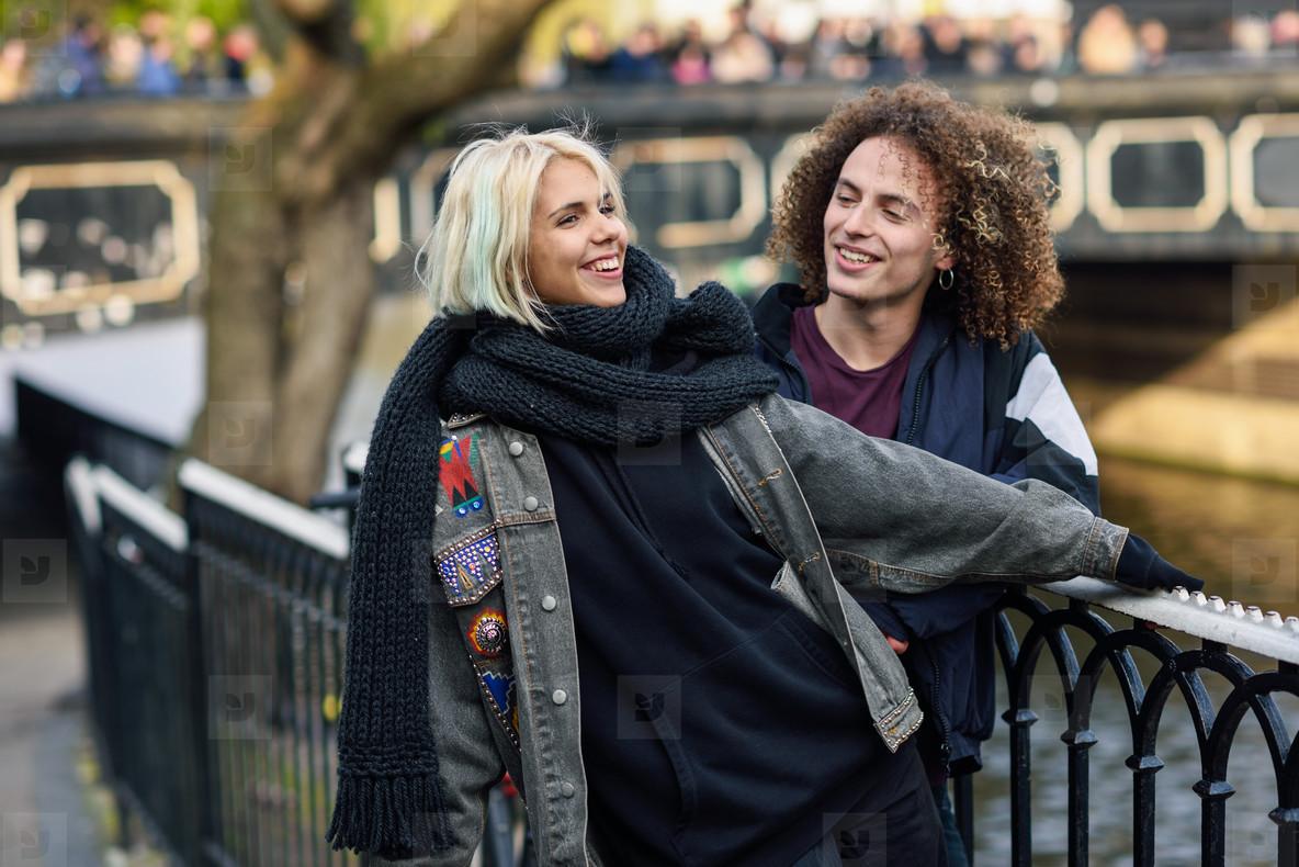 Happy couple having fun in Camden Town Little Venice