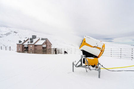 Snow cannon in operation in Sierra Nevada