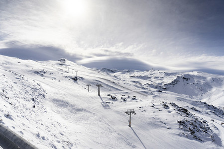 Ski resort of Sierra Nevada in winter full of snow