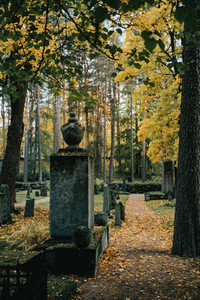 View of the old tombstone and path way across the cemetery at Autumn