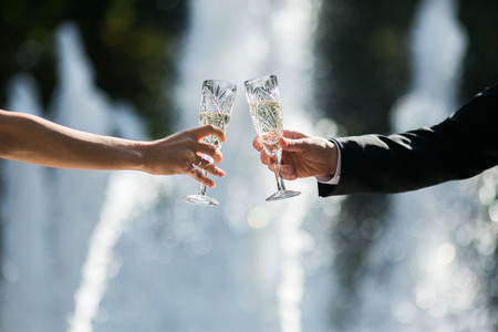 Cheers of bride and grooim