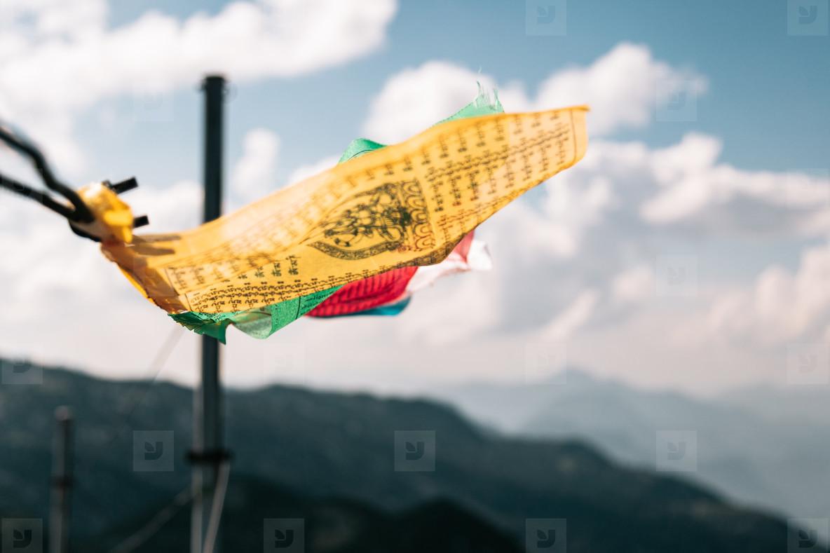 Tibetan flags in the summit of Untersberg mountain  Austria