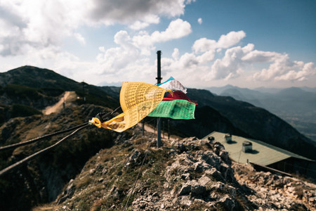 Tibetan flags in the summit of Untersberg mountain  Austria