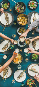 Flat lay of people celebrating together and drinking beer narrow composition