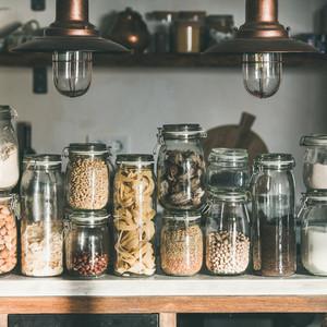 Grains  cereals  nuts  dry fruit  pasta in jars  square crop