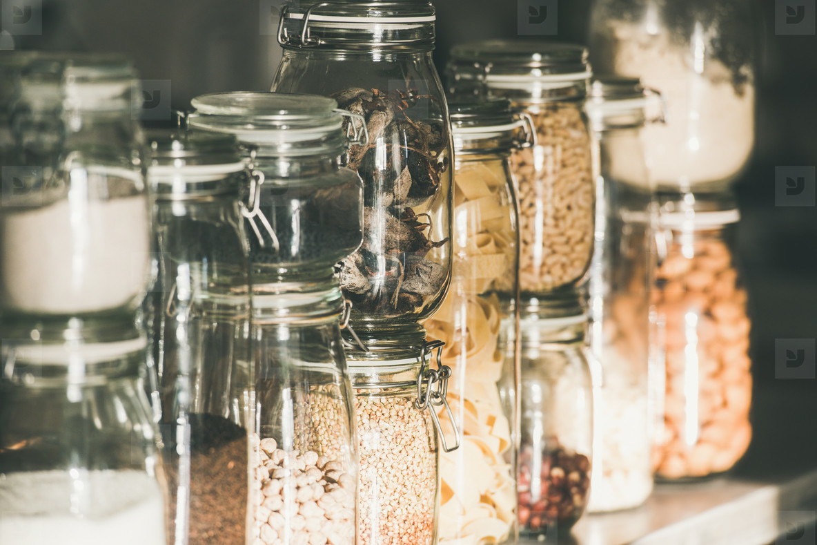 Grains  cereals  nuts  dry fruit  pasta in glass jars