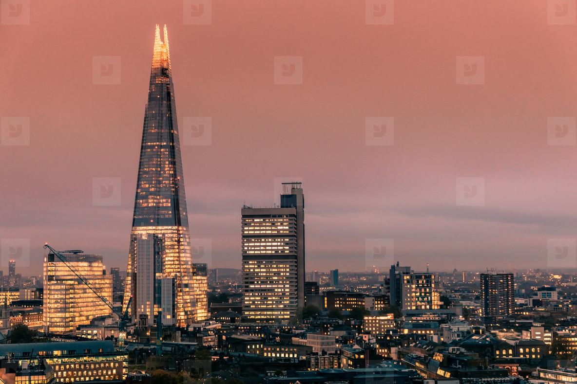 Modern London skyline sunset