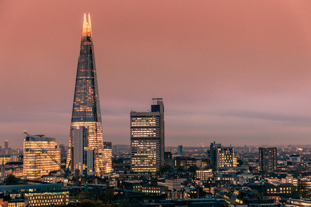 Modern London skyline sunset