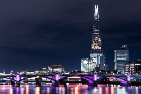 Modern London skyline night