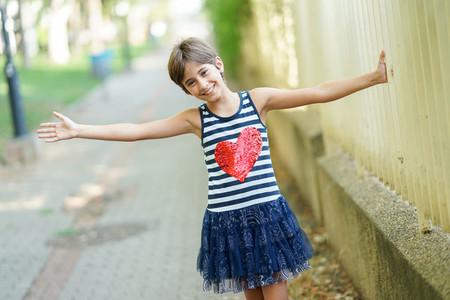 Little girl  eight years old  having fun outdoors