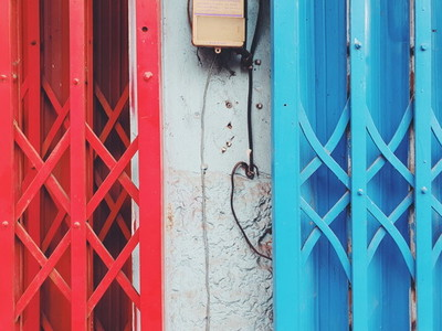 Red and Blue Aluminum facade