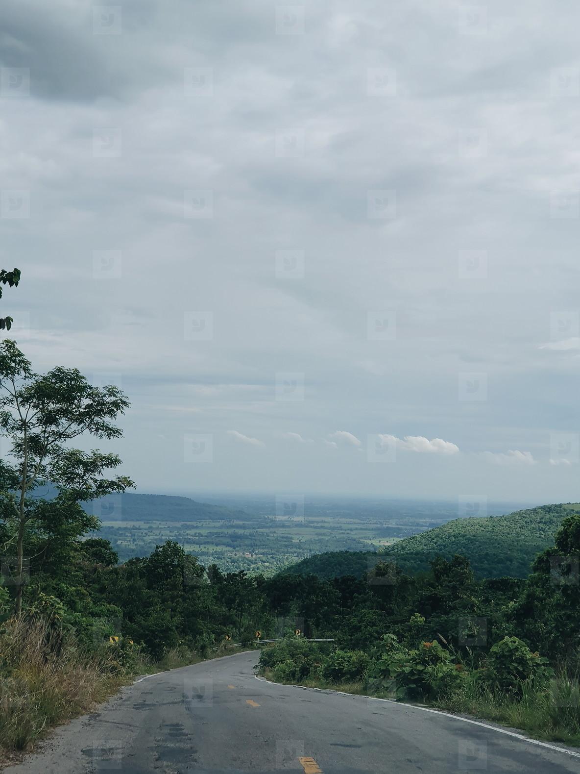 Asphalt road through the hill