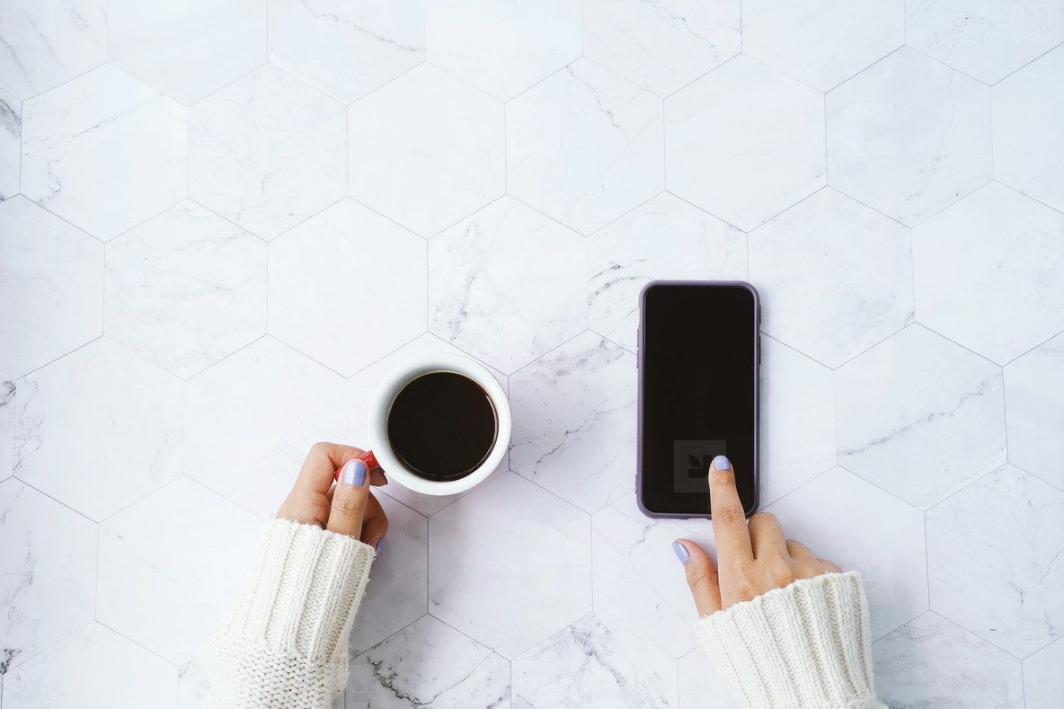 coffee and using phone