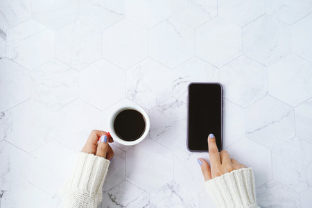 coffee and using phone